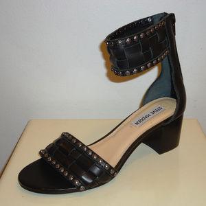 NIB Steve Madden Black Leather Sandals, Sz.6